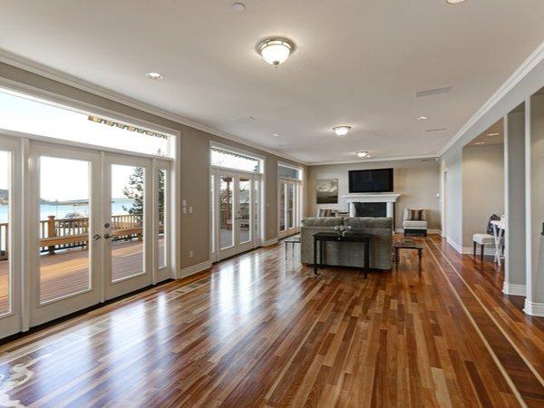 Large open room with hardwood floors